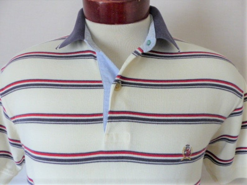 206be41fb9 Tommy Hilfiger vintage 90s ivory white ribbed jersey knit polo | Etsy