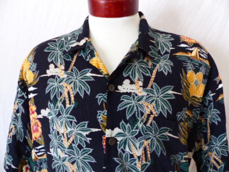 830cff7d Aloha vintage 90's pineapple connection black hawaiian | Etsy