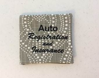 embroidered gray polka dot and blackgray speckled auto registrationinsurance card holder - Insurance Card Holder