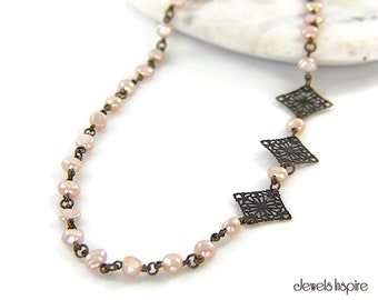 Adjustable Length Pink Cultured Freshwater Pearl Necklace Antique-Brass Diamond-Shaped Links Asymmetrical Link Wire Wrapped Beaded Chain