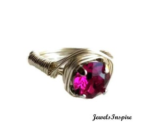 e774245f7 Sterling Silver Wire Wrapped Solitaire Ring with Hot Pink Swarovski Crystal,  Size 4 5 6 7 8 9 10 11 12 13 14 15, Includes Ring Box