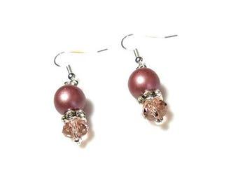 Pink Swarovski Crystal Silver Earrings Mauve Czech Druk Bead Clear Rhinestones Hypoallergenic Nickel Free Jewelry Bridesmaid Gifts for Her