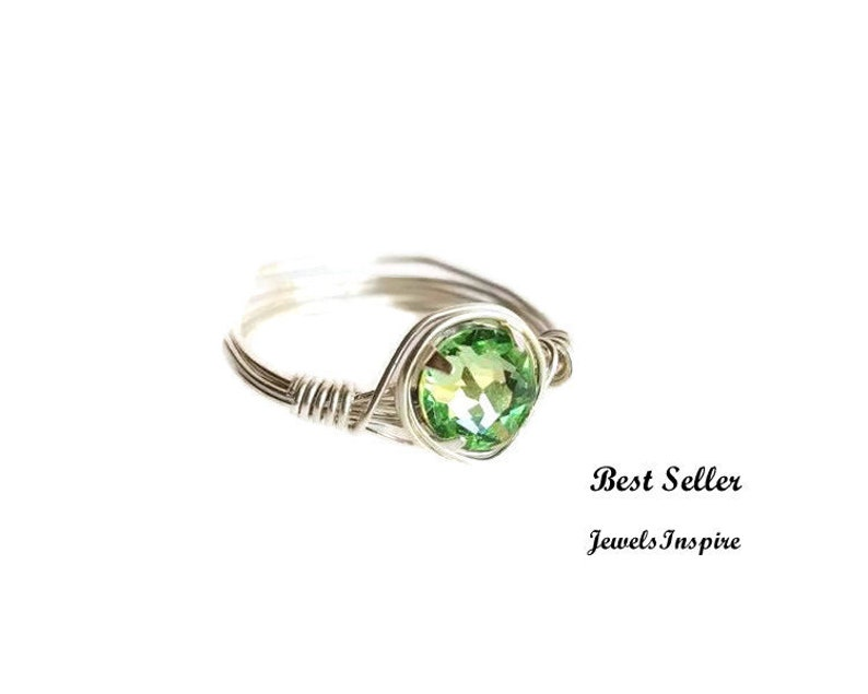 135853cf1 Peridot Crystal Ring Sterling Silver Ring Wire Wrap Ring   Etsy