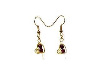 Red Czech Beads Gold Heart Earrings Pierced Heart Earrings Hypoallergenic Nickel Free Earrings Romantic Sweetheart Jewelry Gifts for Her