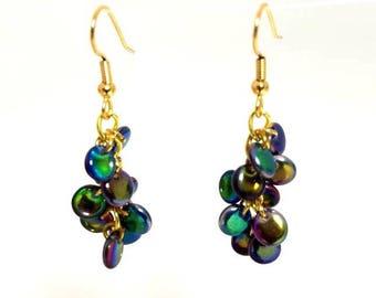 multicolor metallic blue Czech bead earrings hypoallergenic earrings nickel free earrings long waterfall beaded dangle jewelry gifts for her