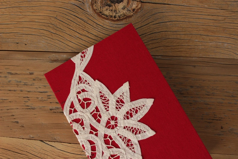 Red Linen Lace Journal  The Uncut Book image 0