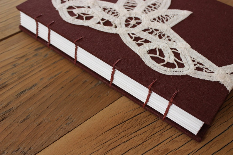 Brown Linen Lace Journal  The Uncut Book image 0