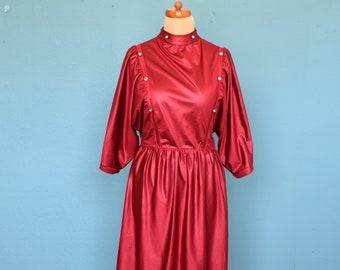 Vintage 80's Deep Crimson Satin Red Batwing Sleeved Dress UK Size 14