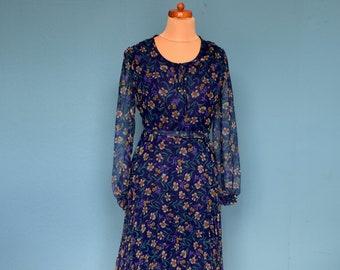 Vintage 80's Dark Blue Floral Print Dress UK Size 10