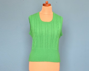 Vintage 70's Apple Green Cable Knit Tank Top UK Size 12