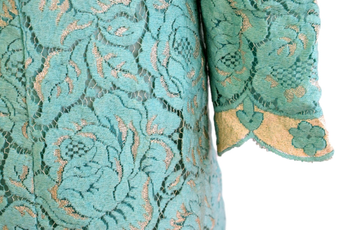 Vintage 60's Japanese Jade Green Mesh Fabric Dress 6  8