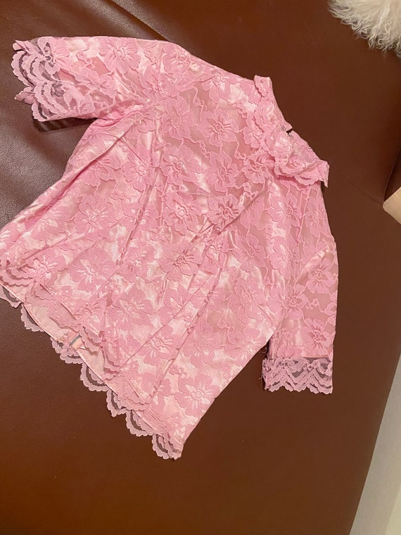 60s Vintage Pink Lace Hand Made Crop Top