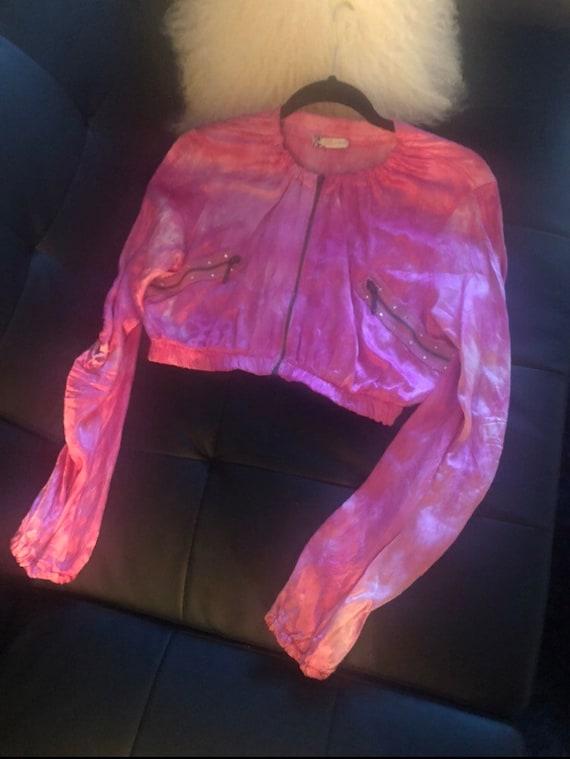 Vintage Y2K Pink Silky Tie Dye Jacket - image 1