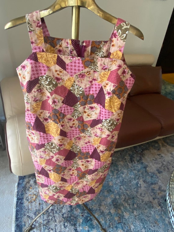 1960s to 1970s Pink Patchwork Summer Dress Size L… - image 4