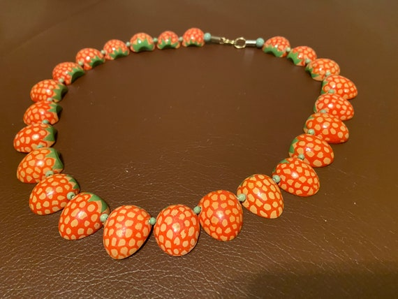 Hand Painted Strawberry Necklace