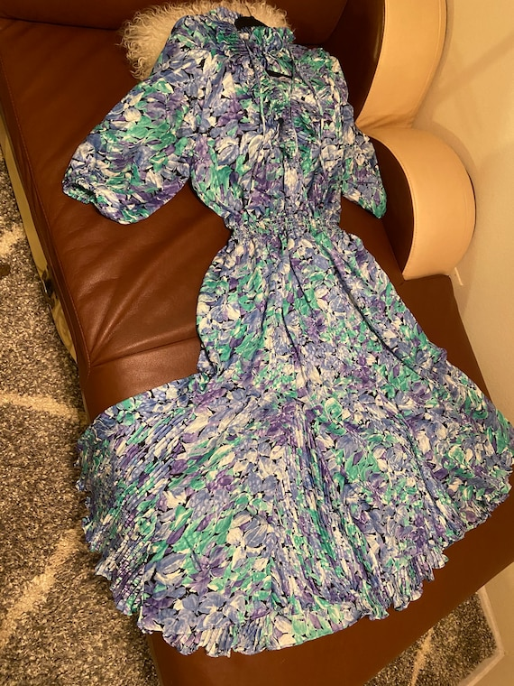 80's Vintage Floral Print Dress Size Small
