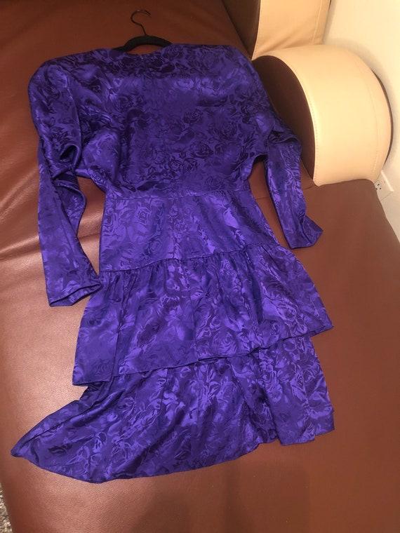 80s Vintage Purple Floral Silk Dress