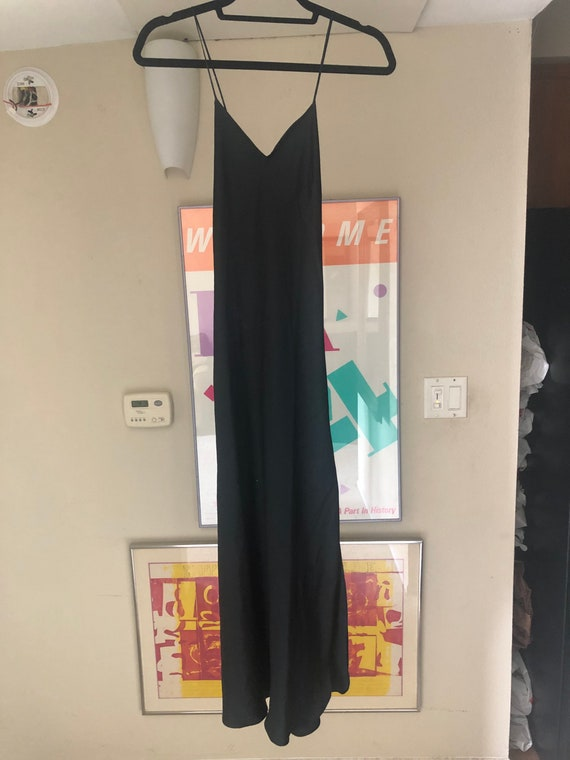 1980s Vintage Black Silk Nightgown Slip Dress by M