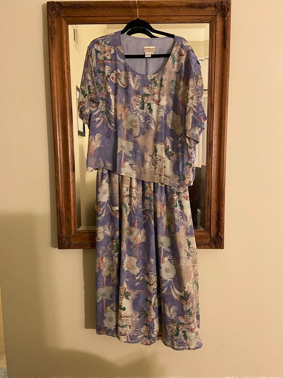 80's Vintage Beaded Floral Print Dress by Coldwate