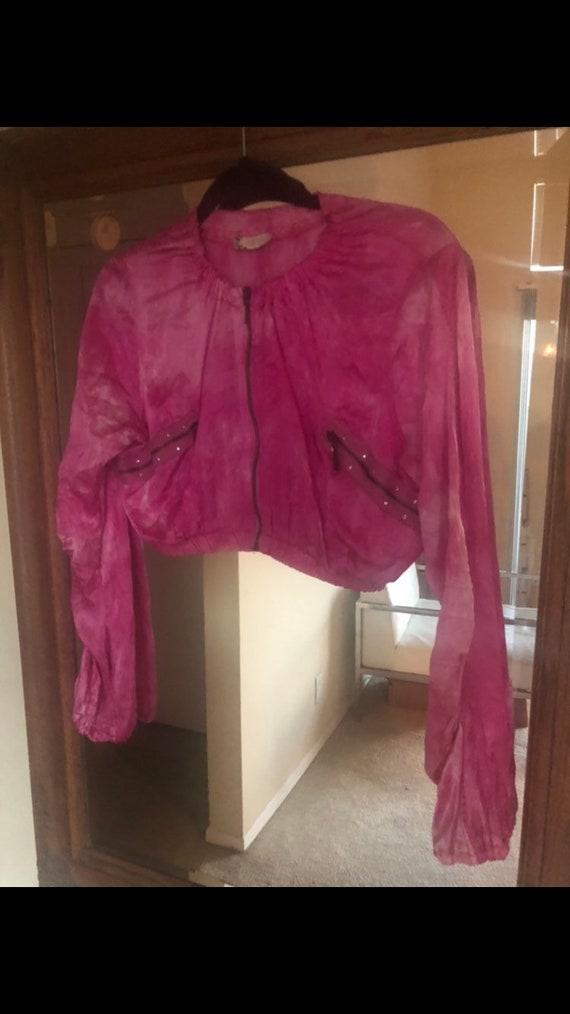 Vintage Y2K Pink Silky Tie Dye Jacket - image 4
