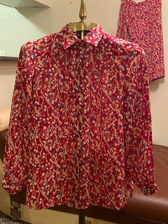 70s Vintage Floral Print Matching Blouse & Skirt