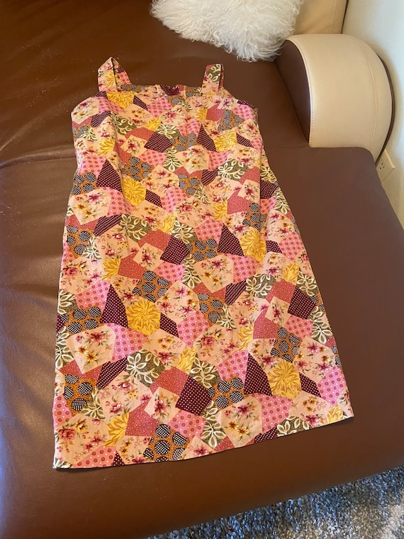 1960s to 1970s Pink Patchwork Summer Dress Size L… - image 1