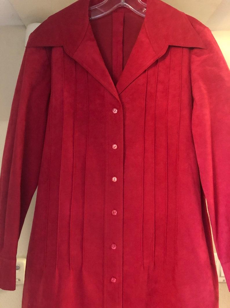 70s Vintage Red Ultrasuede Dress By Abe Schrader