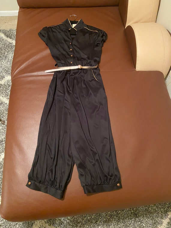 70s Black Pants Jumpsuit with Gold Accents