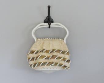vintage 1940s corde beaded hand crafted handbag