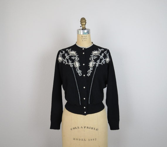 vintage 1950s hand beaded cardigan sweater size me