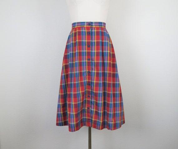 vintage 1970s plaid skirt, cotton, rainbow, size … - image 3