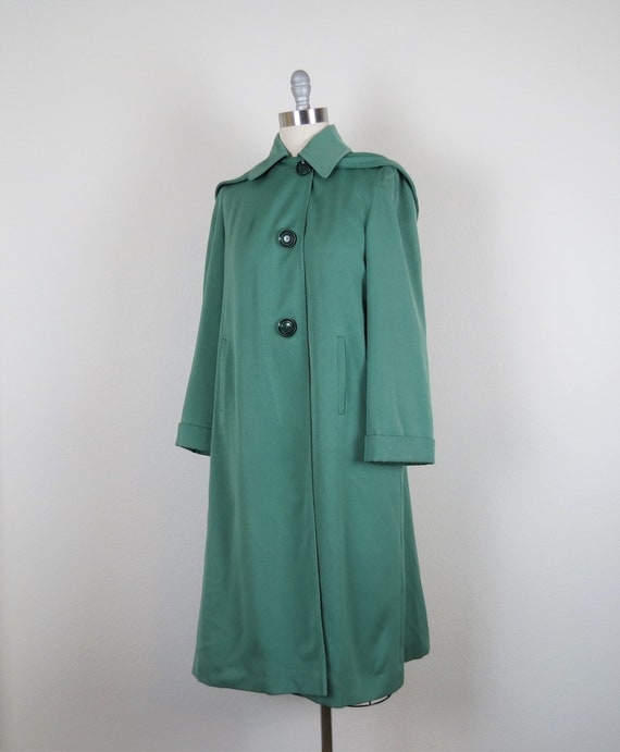 vintage 1940s rain coat gabardine overcoat hooded… - image 3