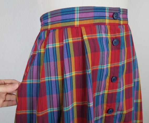 vintage 1970s plaid skirt, cotton, rainbow, size … - image 5