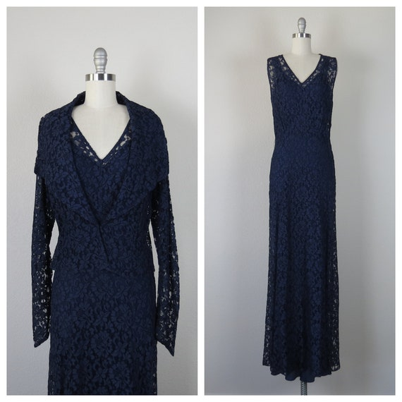 vintage 1930s lace dress open back with matching o