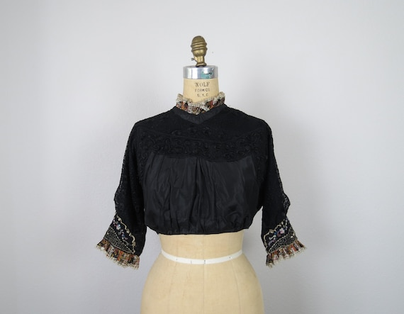 antique victorian - edwardian mourning bodice size