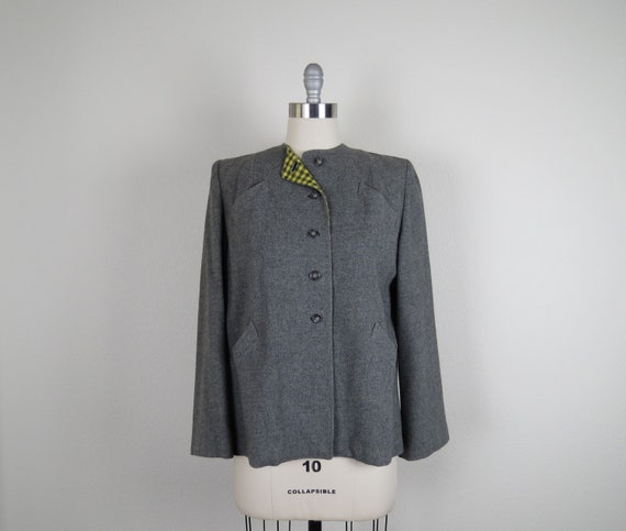 vintage 1940s blazer jacket wool plaid size large
