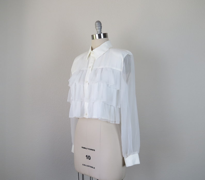 size large sheer sleeves 40 bust vintage 1980s cropped ruffle blouse