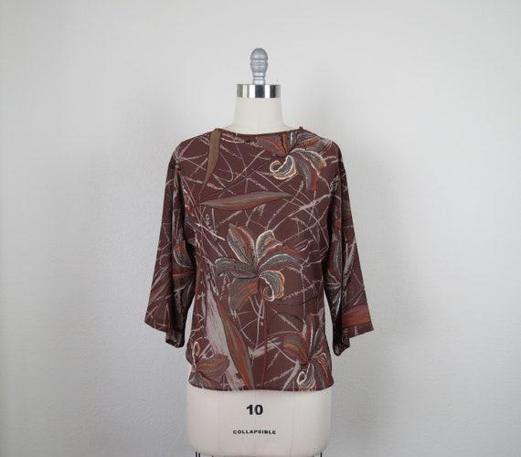 vintage 1970s floral blouse Campus Casuals size me