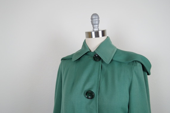vintage 1940s rain coat gabardine overcoat hooded… - image 4