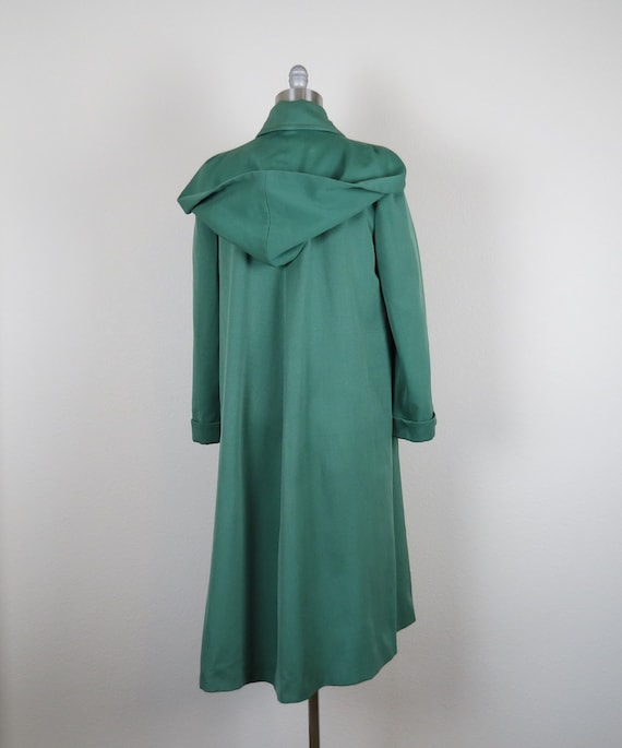 vintage 1940s rain coat gabardine overcoat hooded… - image 5