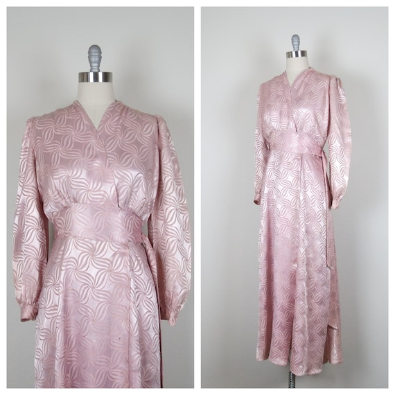 vintage 30s 1930s - 1940s 40s dressing gown, rayon