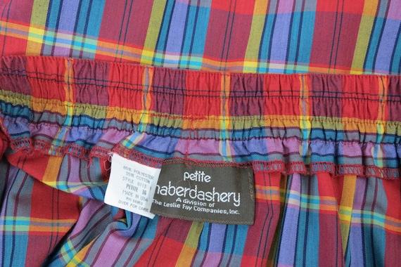 vintage 1970s plaid skirt, cotton, rainbow, size … - image 7
