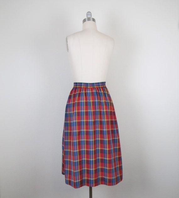 vintage 1970s plaid skirt, cotton, rainbow, size … - image 6
