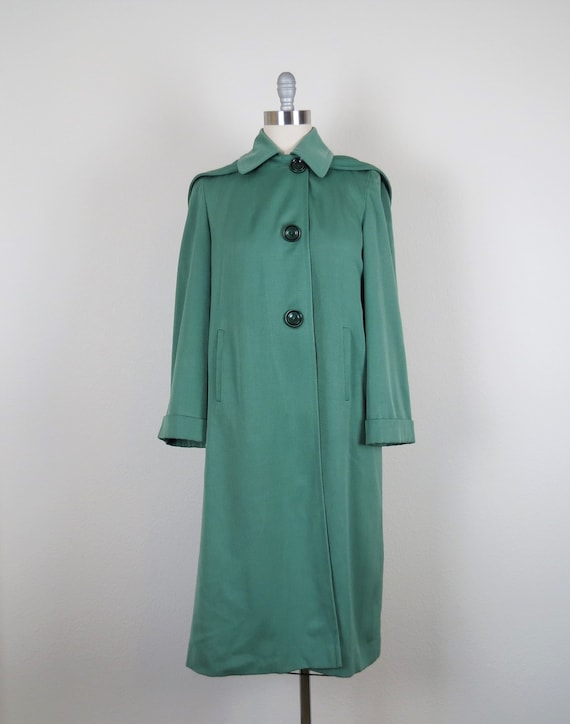 vintage 1940s rain coat gabardine overcoat hooded… - image 2