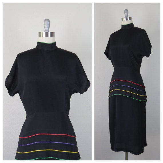 vintage 1980s does 1940s peplum rainbow stripe dre