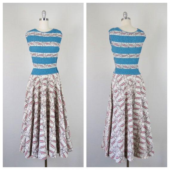 size xs - s vintage 1940s Frances Sider cotton nov