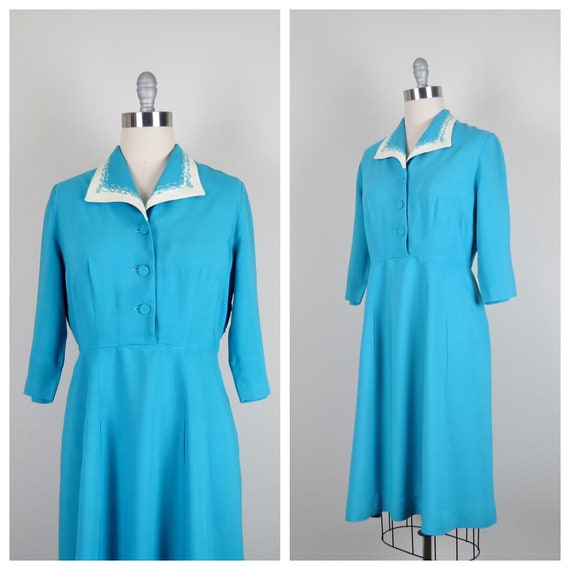 "vintage 1940s rayon dress size large 38"" bust 31"""