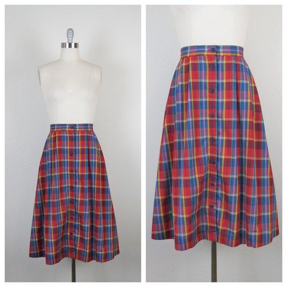vintage 1970s plaid skirt, cotton, rainbow, size … - image 1