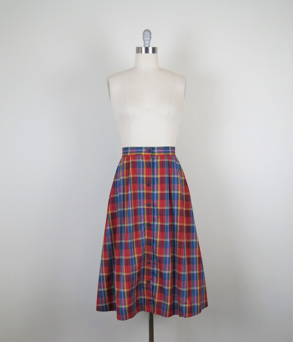 vintage 1970s plaid skirt, cotton, rainbow, size … - image 2