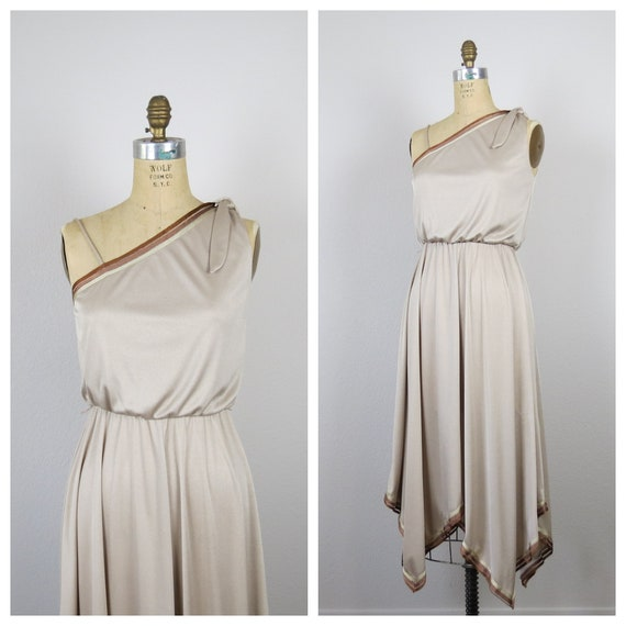 vintage 1970s disco dress one shoulder studio 54 s
